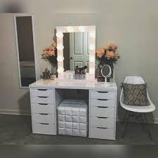 diy vanity mirror lights for bathroom and makeup station ikea table lighted professional desk bedroom