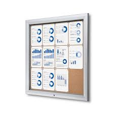 outdoor bulletin board with cork board enclosed and locking fits 12 pages