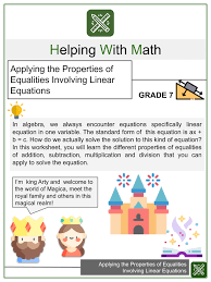 equalities 7th grade math worksheets