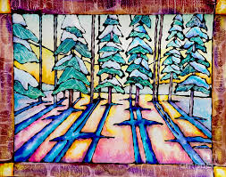 pine trees painting stained glass watercolor winter pine trees by caitlin lodato