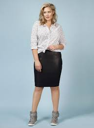 bubble shirt and faux leather skirt rebel wilson torrid spring5