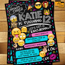 Print Out Birthday Invitations Extraordinary Emoji Invitation Emoji Birthday Invitations Teen Birthday