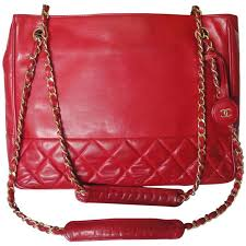 chanel bags classic red. vintage chanel red calfskin classic shoulder tote bag with gold tone chains 1 chanel bags s