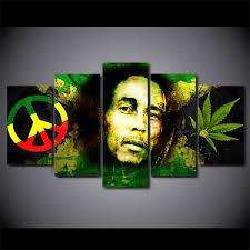 Unframed <b>5 Piece</b> Canvas Art <b>HD Print</b> Bob Marley Art Painting ...