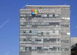 office building facade. Microsoft Corporation Office Building Facade With Logo In Herzli \u2014 Stock Photo L