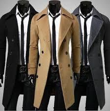 <b>Fashion</b> Men <b>Double</b> Breasted Long Jacket <b>Winter Wool</b> ...