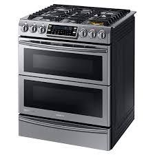 samsung range. samsung appliances 5.8 cu. ft. slide-in dual-fuel self/steam clean convection range with flex duo\u0026trade; and dual door