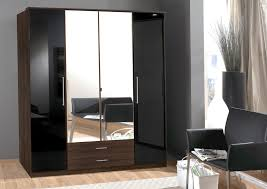 Shiny Black Bedroom Furniture 4 Door Mirror Wardrobe Walnut Effect Online Ahoc Ltd