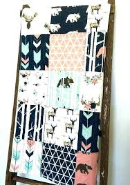 woodland girl quilt navy fawn pink crib bedding bear throw blanket enchanted forest baby solid color and 3 adventure friends nursery be