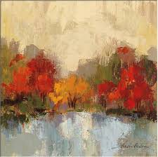hot abstract art on canvas oil painting landscape fall riverside by silvia vassileva painting high