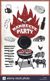 Barbecue Flyers Barbecue Party Flyer Template Grill Fire Grilled Meat