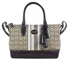 The Features COACH Legacy Signature Stripe Molly Satchel Shoulder Bag 21154  Khaki Mahogany -