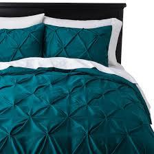 teal bed set target threshold pinched pleat duvet cover set