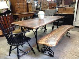 Custom Table And Bench Set Wrought Iron Scroll Legs And Solid