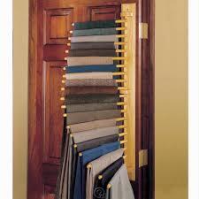 hanging door closet organizer. 20 Pair Pants Hanging Rack Closet Organizer Oak Wood Mounts To Wall Or Door #Hammacher