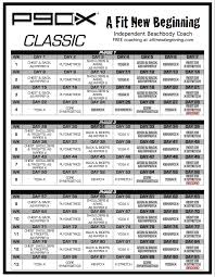 p90x workout routine schedule p90x clic schedule a fit new beginning