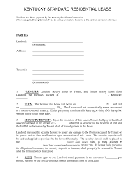 Free Kentucky Standard Residential Lease Agreement Template Form