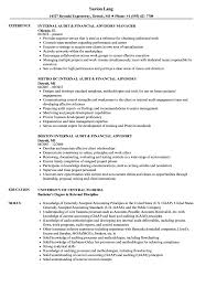Internal Audit Financial Advisory Resume Samples Velvet Jobs