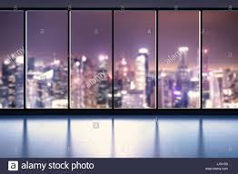 office glass windows. 3d Rendering Empty Office Space With Glass Windows R