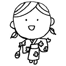 浴衣を着た女の子のフリーイラスト フリーイラストクラシック