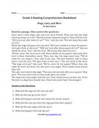 reading worksheets fourth grade 4th comprehension students dogs ...