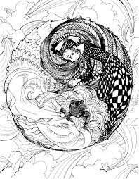 Printable Ying Yang Design Coloring Pages Free Coloring Book