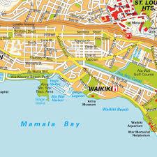 map honolulu hi hawaii usa (city center) central downtown maps