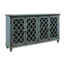 ashley london glass door 67 distressed teal accent console