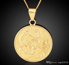 whole chinese dragon pendant 18k copper gold plated jewelry necklace men s style necklace bar pendant necklace tanzanite pendant necklace from