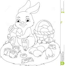 Easter Rabbit Coloring Page Stock Vector Illustration Of Grass