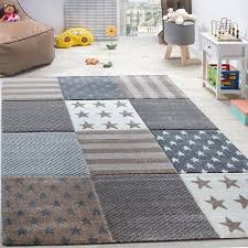 kids star rug check beige brown grey soft mat children room carpet small x large