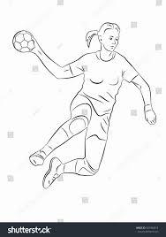 Illustration Woman Playing Handball Black White Stock Vector