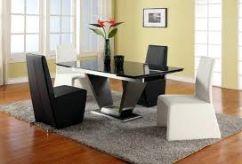 Extendable Rectangular Marble Leather Five Piece Modern Dining