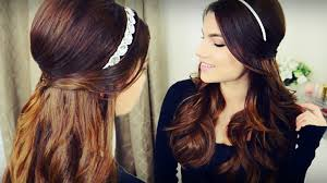 Hairband Hairstyle diy holiday headband voluminous curls with bouffant half up 5725 by wearticles.com