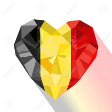 vector vector crystal gem jewelry belgian heart with the flag of the kingdom of belgium flat style symbol of love belgium europe