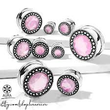 Body Jewelry Gauge Conversion Chart Pink Glass Crystal In Antique Silver Screw Fit Flesh Tunnel