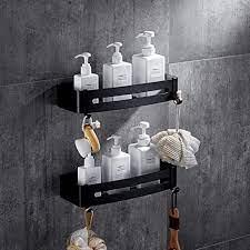 Amazon Com Nordic Minimalist Racks Black Bathroom Shelves Floating Shelves Wall Mounted Shelves Bathroom Storage Shelves Space Aluminum Shelves 30 5x32 5x4 5cm Size Double Layer Home Kitchen