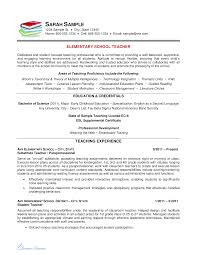 English Resume Samples Elementary Teacher Resume Sample Templates At