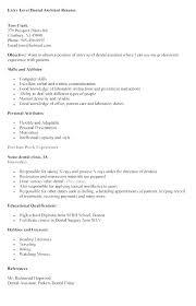 Dental Assisting Resumes Dental Assistant Resume Sample Entry Level Adorable Dental Assistant Resume Skills