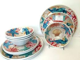 nautical dish sets piece melamine dinnerware set by indoor outdoor tion coastal beach uk b