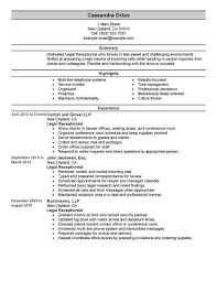 Receptionist Resume Summary Best Legal Receptionist Resume Example LiveCareer 5