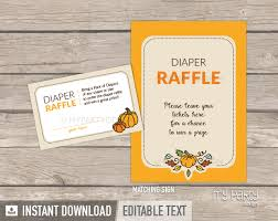 raffle sign little pumpkin baby shower printable diaper raffle tickets and sign