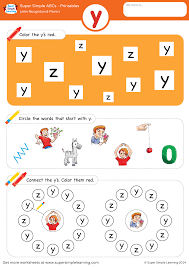 Phonics helps students learn to identify relationships between words and sounds. Letter Recognition Phonics Worksheet Y Lowercase Super Simple