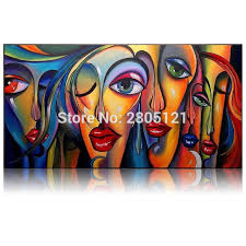 hand painted modern art painting kissing girls portrait oil painting ideas red lips canvas painting home