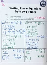 writing equations from two points interactive notebook page
