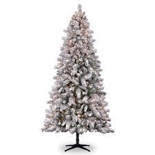 Flocked Christmas Tree 75 Ft Pre Lit White Full Flocked Vermont Pine Artificial