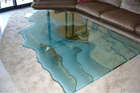custom glass for table tops carved sofa table ocean cur design custom glass table tops home