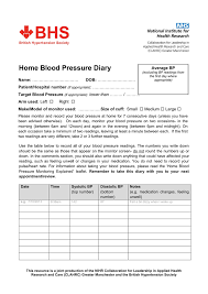 Home Blood Pressure Diary British Hypertension Society