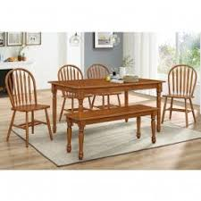 fireside 6 piece large farm dinette set large farm table with 4 arrowback side chairs