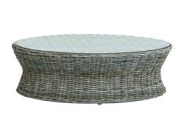 round wicker coffee table white